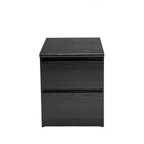 Tvilum 7029161 Scottsdale 2 Drawer Nightstand, Black Wood Grain