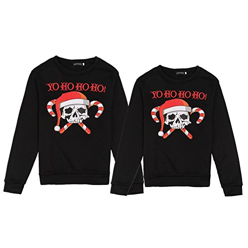 Bangerdei Matching Couple Ugly Christmas Series Sweatshirt Jumper Pullover Black3 Women M + Men 2XL by Bangerdei