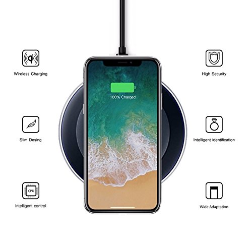 Wireless Charger iPhone X / 8 / 8 plus , Samsung Galaxy - Note 9 / S9 / S9 Plus , 8 / S8 / S8 Plus , S7 / S7 Edge / S6 Edge / 5 - Universal Qi Compatible Cordless Wirelless Charging Pad