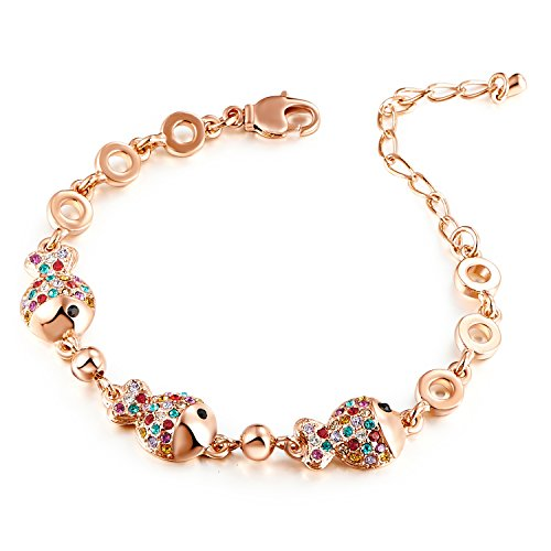 HuiSheng 7 Inch Colorful Fish-shaped Crystal Female Bracelet with Swarovski Crystal