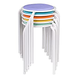 Fat Catalog ALT-1100-SO Assorted Color Metal Stack Stool with Padded Seat, 17