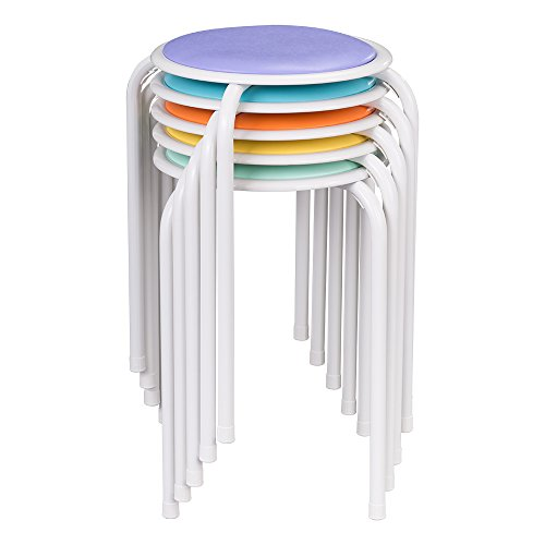 Fat Catalog Assorted Color Metal Stack Stool with Padded Seat, ALT1100SO (Pack of 5) -