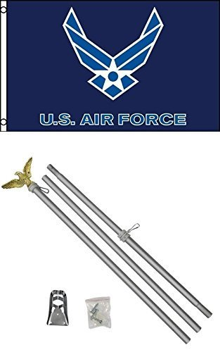 3'x5' US AIR FORCE Blue Wings Polyester Flag and 6' Aluminum