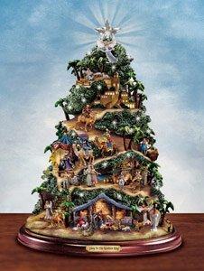 Thomas Kinkade Illuminated Nativity Tabletop Tree: Glory To The Newborn King