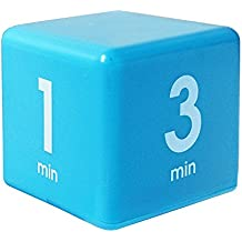 The Miracle TimeCube Timer, 1, 3, 5 and 7 Minutes, for Time Management, Kitchen Timer, Kids Timer, Workout Timer, Blue