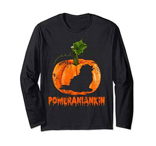 Pomeranian in Pumpkin Shirt Halloween Costume Dog Lover Gift Long Sleeve T-Shirt ()