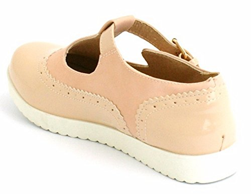PINK Girls PU Geek T Work CRAZY PATENT NUDE Flatform Dolly Ladies SHU Pumps Cut Out Brogues Womens Shoes Bar S28 Flat UtfnRqpw