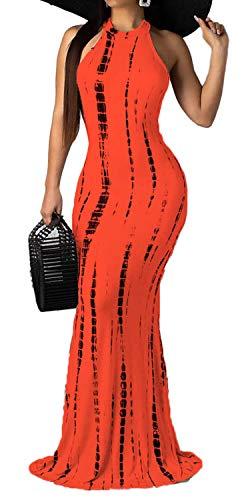 Silk Tie Dye Dress - Women's Sleeveless Tie Dye Maxi Dress Boho Style Bodycon Floor Length Party Evening Dress Gown Orange