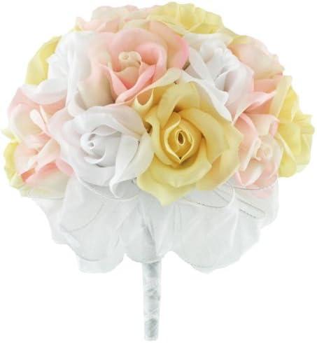 Rosa, Amarillo, color blanco seda rosa Hand Tie (2 docena de rosas ...