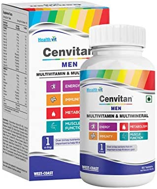 Healthvit Cenvitan Men Multivitamin & Multimineral with 24 Nutrients (Vitamins and Minerals) | Anti-Oxidants, Energy, Metabolism, Immunity and Muscle Function – 60 Tablets