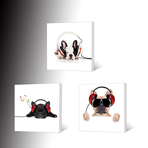 VVOVV Wall Decor - Canvas Prints Cool Dog With Sunglasses Listen To DJ Music Headphone Painting Animal Pictures Wall Decor Contemporary Giclee Artwork Stretched And Framed Wall - Wall Sunglasses Art