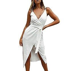 Uribake ?��??� Women S Slip Dresses Sleeveless Solid Sexy V Neck Belt Slit Ladies Summer Fashion Warp Dresses White