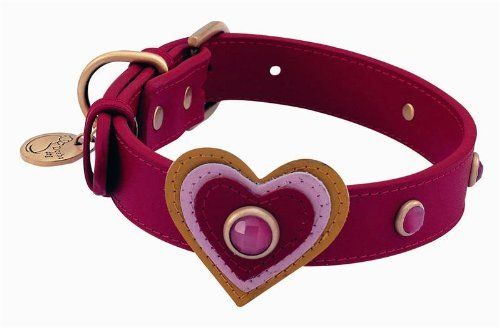 Pink Cat Eye Heart Leather Dog Collar - Small