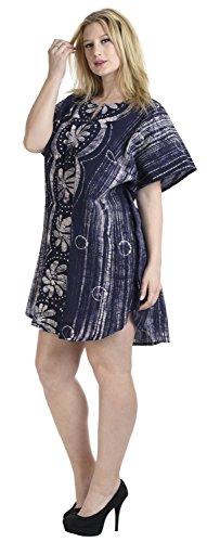 La Leela todo en 1 ligero superior la mano algodón batik túnica noche informal vestido traje baño dbikini kimono 100% encubrir loungewear ropa playa más corta ocasional vestido noche color rosa caftán