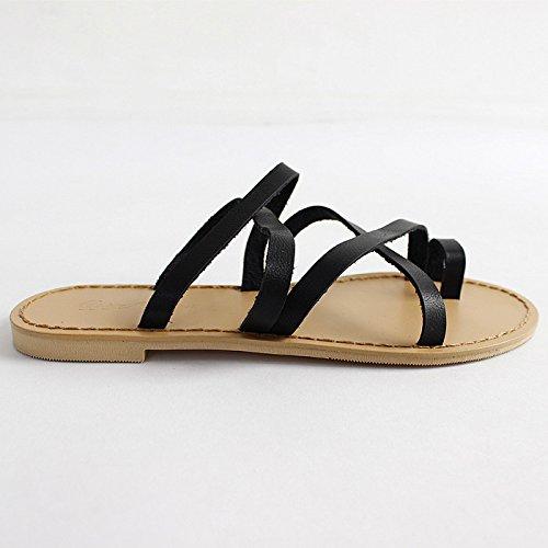 Qingchunhuangtang@ Kleines Kreuz Flip Flip Kreuz Flops Atmungsaktiv Hausschuhe Faul Sommer Strand Schuhe Schwarz b39955