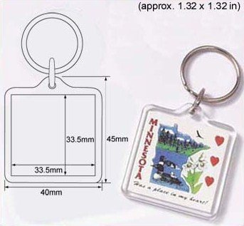 100 Pcs of Blank Clear Square Acrylic Keyring 33.5x33.5mm Photo Insert Craft Keychain 9012