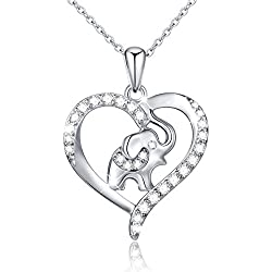 S925 Sterling Silver Lucky Elephant Gift - Love Heart Necklace For Women