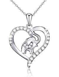 """S925 Sterling Silver Lucky Elephant Love Heart Necklace for Women, 18"""" Rolo Chain"""