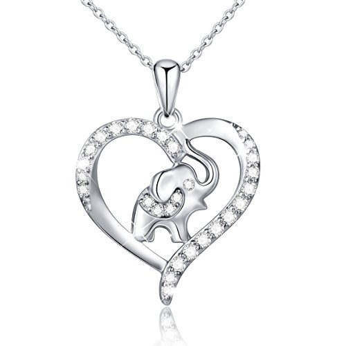 Light Womens Elephant (S925 Sterling Silver Lucky Elephant Love Heart Necklace for Women, 18