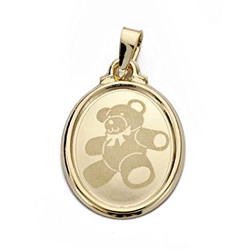 or 18k pendentif ovale laser ours 22mm. [AA0120]