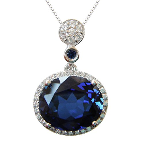 Navachi 925 Sterling Silver 18k White Gold Plated 6.0ct Oval Sapphire Az9354p Necklace Pendant 16