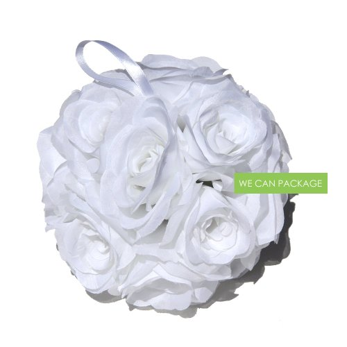 We Can Package 7 Inch Silk Rose Pomander Kissing Balls for Wedding Decorations, Party Event, Floral Arrangements Home (White) ()