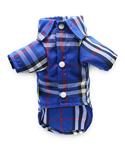 DroolingDog Dog Polo Shirt Dog Plaid Tee Shirts Puppy Apparel for Small Dogs, Large, Blue