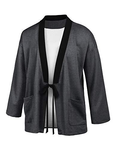 COOFANDY Men's Lightweight Kimono Cardigan Jackets Hip Hop Premium Cotton Blend Coat Outwear Open Front Cloak Cape