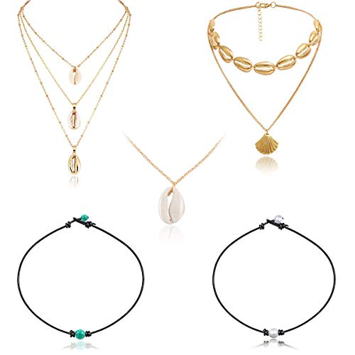 Spiritlele 5 Pack Gold Cowrie Shell Choker Necklace Set Waterproof Rope Pearl Turquoise Necklace for Women (5 Gold Necklace)