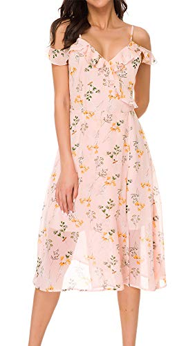 (TOP-MAX Women's Dresses-Summer Floral Print Cold Shoulder Beach Prom Club Party Cocktail Casual Flowy Midi Dresses Pink)