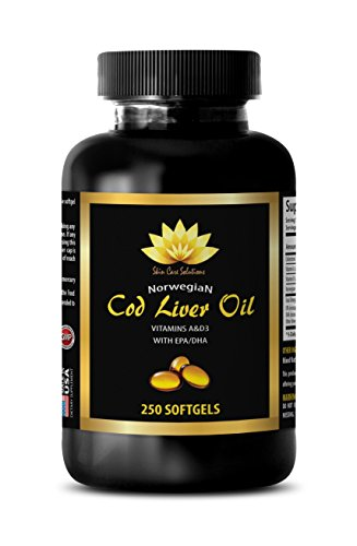 Brain booster supplements - NORWEGIAN COD LIVER OIL - Cod liver oil dha - 1 Bottle 250 Softgels by SKIN CARE SOLUTIONS