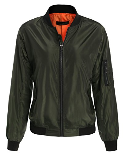 Coat Green Halife Zip Outwear Up Caduta Autunnale Classic Bomber Donne Army ZZSv8