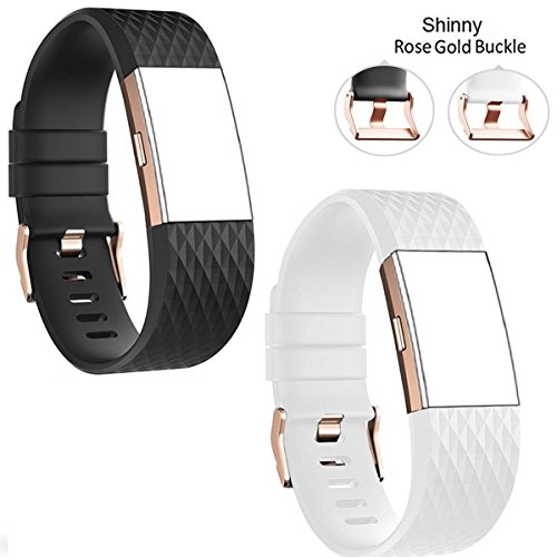 DB Charge 2 sai064 Band with Rose Gold Buckle for Fitbit Charge 2 Wrist Band Classic Fitness Flex Adjustable Colorful Fashion Sport and Sleep Clasp Bracelet Replacement Accessories