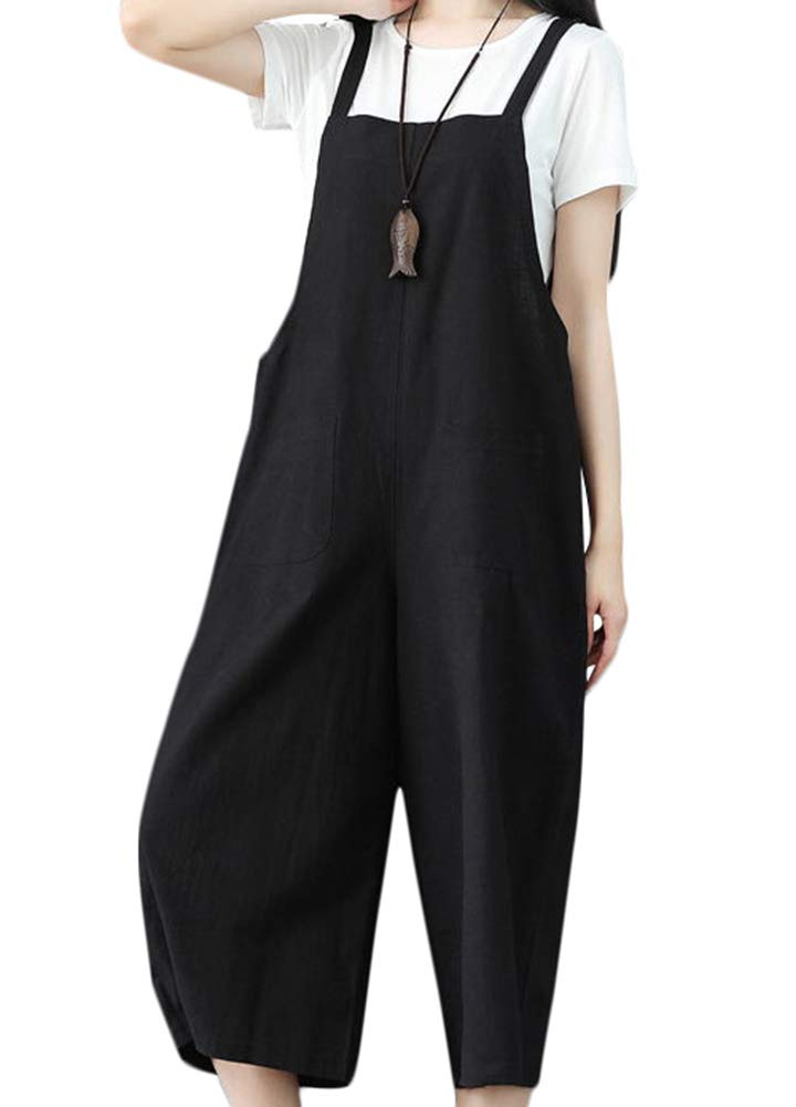 Romacci Women Loose Wide Leg Jumpsuit Overalls Sleeveless Strappy Casual Dungarees Playsuit Rompers