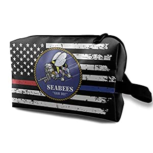 BATM American and Seabee Crossed Flag Makeup Pouch Portable Cosmetic Clutch Travel Purse from BATM