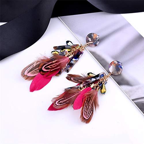 Nicole Miller New York Round Maroon Resin Acrylic Fuscia Pink Feathers Rosegold Dangle Earrings 2