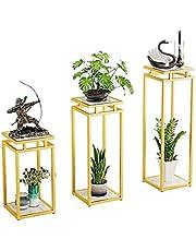 Metal 3-Piece Set Metal Flower Stand Centerpieces Plant Stand Multiple Flower Pot Holder Shelves Planter Rack Storage Organizer Display for Indoor Outdoor Garden Balcony CHENSAI(Color:White Base)