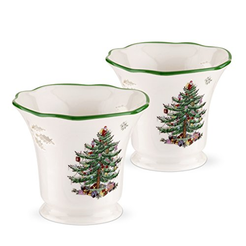 Spode Christmas Tree Pierced Tea Light Holder with Tea Lights, Set of 2 ()