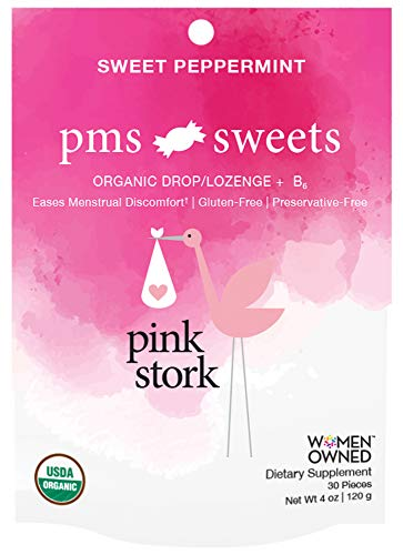 Pink Stork PMS Sweets: Lite Peppermint Flavor, USDA Organic Hard Lozenges, Eases Menstrual Discomfort, -30 Individually Wrapped Sweets