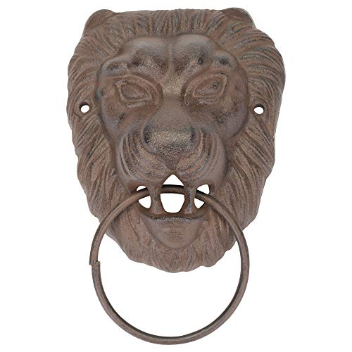 Lion's Head Rustic Brown 5 x 7.5 Inch Cast Iron Metal Mounted Door Knocker