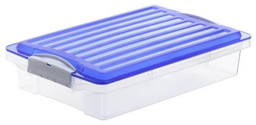 Rotho Aufbewahrungsbox COMPACT transparent mit Deckel in blau, Plastikbox aus Kunststoff im DIN A4 Format, Inhalt 6 Liter, Lagerkiste ca. 39,5 x 27,5 x 9,5 cm