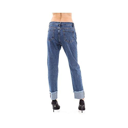 Da Donna Orlo Denim Jeans Tasche 5 Pantaloni Con Fit Slim Sfilacciato Blu 5UwTn1EEgq