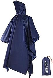 AGPTEK Waterproof Raincoat 3 in 1 Rain Poncho with Hoods Multifunctional Rainwear with Carry Bag for Hiking Ca