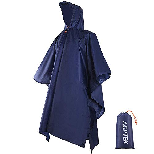 AGPTEK Rain Poncho with Hood and Pouch, Waterproof Reusable Raincoat with Carrying Bag, 3 in 1 Compact Rainwear for Adult, Men, Women, Hiking, Camping, Motorcycle, Outdoor Activities, Dark Blue