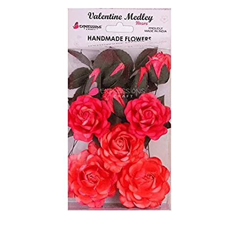 Expressions Craft Indian Rose Red Handmade Paper Flowers For Craft