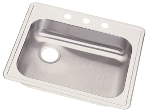 Elkay GE12521L3 Dayton 25-Inch by 24-1/4-Inch Stainless Steel Single Bowl Three-Hole Kitchen Sink, Satin Finish