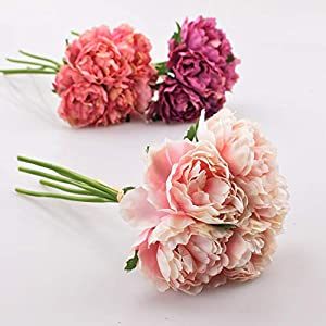 GSD2FF Artificial Flower Hydrangea 5 Heads Peony Bridal Bouquet Silk Flower Wedding Valentine's Day Party Home Decoration 27