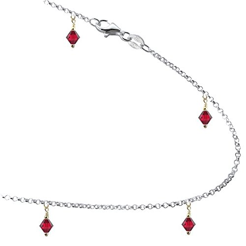 Siam Sterling Bracelet (Siam Colored Red Crystals with .925 Sterling Silver Link Anklet, Bracelet. 7,8,9,10,11,12,13 Inches (11.5 Inches))