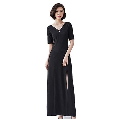 Vestido Nuevo Dividir Sexy Vestido Negro Largo Slim Slim V