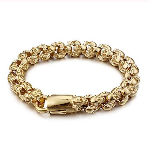 Qiaonitu Biker Bracelet Gothic Skull Stainless Steel Bracelet for Men 8.86 Inches Punk Vintage Jewelry (Gold 22.5cm)